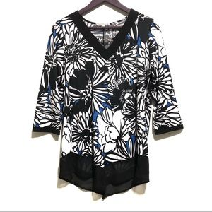 3 for $20 Notations V Neck Chain Detail Print Top